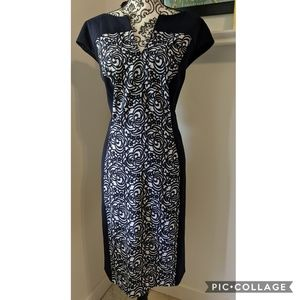 Dress Barn Sheath Fitted Color Block Printed Dress